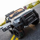 Elektrische Politie Kinderauto Ford Raptor 4x4 Zwart 2 persoons 24V Met Afstandsbediening FULL OPTION_