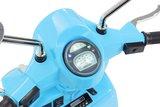Elektrische Kinderscooter Vespa PX150 Piaggio Blauw 12V met Koffer en Lederen zitting _