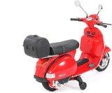 Elektrische Kinderscooter Vespa PX150 Piaggio Rood 12V met Koffer en Lederen zitting _