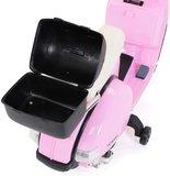 Elektrische Kinderscooter Vespa PX150 Piaggio Roze 12V met Koffer en Lederen zitting _