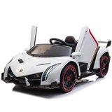 Elektrische Kinderauto Lamborghini Veneno 4x4 Wit 2 persoons 24V Met Afstandsbediening FULL OPTION_
