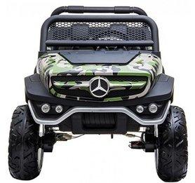 Elektrische Kinderauto Mercedes Benz Unimog Camouflage 2 Persoons 4x4 met Mp4 Scherm en Afstandsbediening FULL OPTIONS