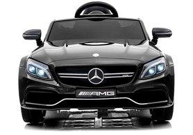 Elektrische Kinderauto Mercedes-Benz C63 AMG Zwart 12V Met Afstandsbediening FULL OPTION