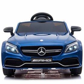 Elektrische Kinderauto Mercedes-Benz C63 AMG Blauw 12V Met Afstandsbediening FULL OPTION
