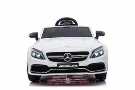 Elektrische Kinderauto Mercedes-Benz C63 AMG Wit 12V Met Afstandsbediening FULL OPTION