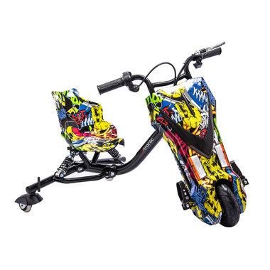 Elektrische Drift trike Kart 250W 36V Versie 2.0 Graffiti Zwart met achter vering