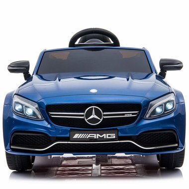 Elektrische Kinderauto Mercedes-Benz C63 AMG Blauw 12V Met Afstandsbediening FULL OPTION