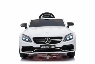 Elektrische Kinderauto Mercedes-Benz C63 AMG Wit 12V Met Afstandsbediening FULL OPTION