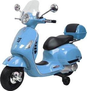 Elektrische Kinderscooter Vespa Blauw 12V met Windscherm, Koffer en Lederen zitting