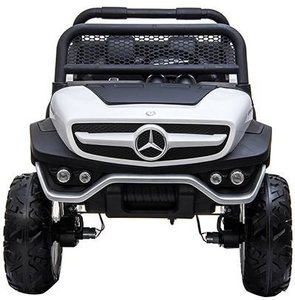 Elektrische Kinderauto Mercedes Benz Unimog Wit 2 Persoons 4x4 met Mp4 Scherm en Afstandsbediening FULL OPTIONS