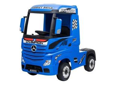Elektrische Kinder vrachtauto Mercedes Actross Truck 4x4 Blauw 24V Met Afstandsbediening FULL OPTIONS