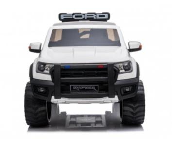 Elektrische Politie Kinderauto Ford Raptor 4x4 Wit 2 persoons 24V Met Afstandsbediening FULL OPTION