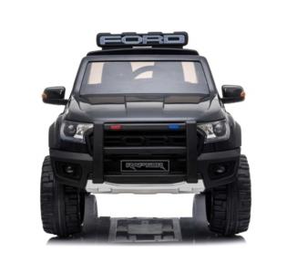 Elektrische Politie Kinderauto Ford Raptor 4x4 Zwart 2 persoons 24V Met Afstandsbediening FULL OPTION