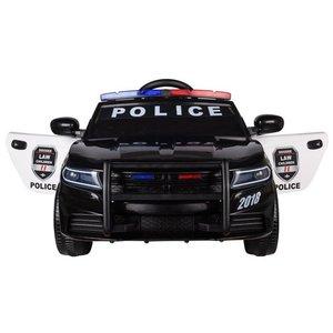 Elektrische Politie Kinderauto Zwart 12V met Afstandsbediening FULL OPTIONS