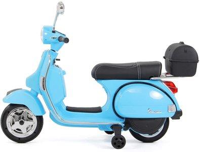 Elektrische Kinderscooter Vespa PX150 Piaggio Blauw 12V met Koffer en Lederen zitting