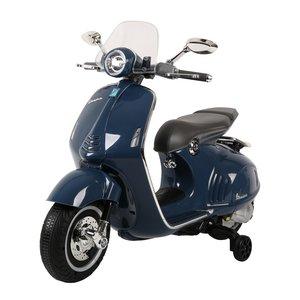Elektrische Kinderscooter Vespa 946 Primavera GTS Blauw 12V met Windscherm en Lederen zitting