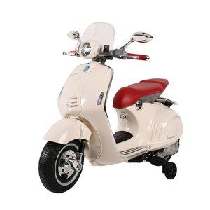 Elektrische Kinderscooter Vespa 946 Primavera GTS Wit 12V met Windscherm en Lederen zitting