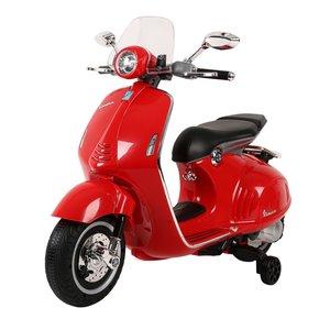 Elektrische Kinderscooter Vespa 946 Primavera GTS Rood 12V met Windscherm en Lederen zitting