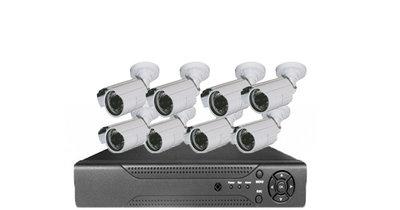 Beveiligings camera set met 8 cameras WIT AHD